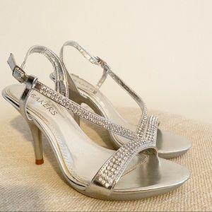 Baker's rhinestone Nita silver sling back heels